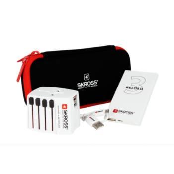 Adaptateur secteur de voyage Skross + PowerBank + Câble USB + Sacoche