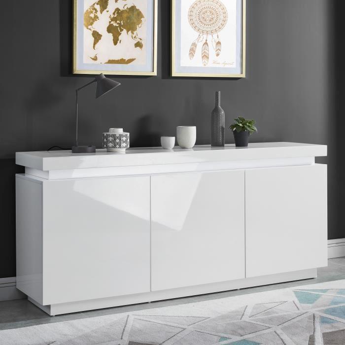 Buffet  ODYSSEE - Contemporain laqué blanc brillant (170 cm)