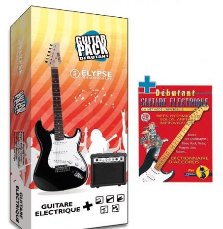 Pack guitare électrique Vénus Noire avec méthode pour gaucher (retrait en magasin)