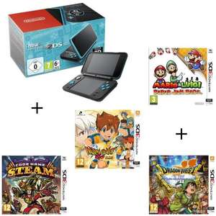 Console New 2DS XL noire et turquoise + Dragon Quest VII + Mario & Luigi Paper Jam Bros + Code Name STEAM + Inazuma Eleven Go Lumière