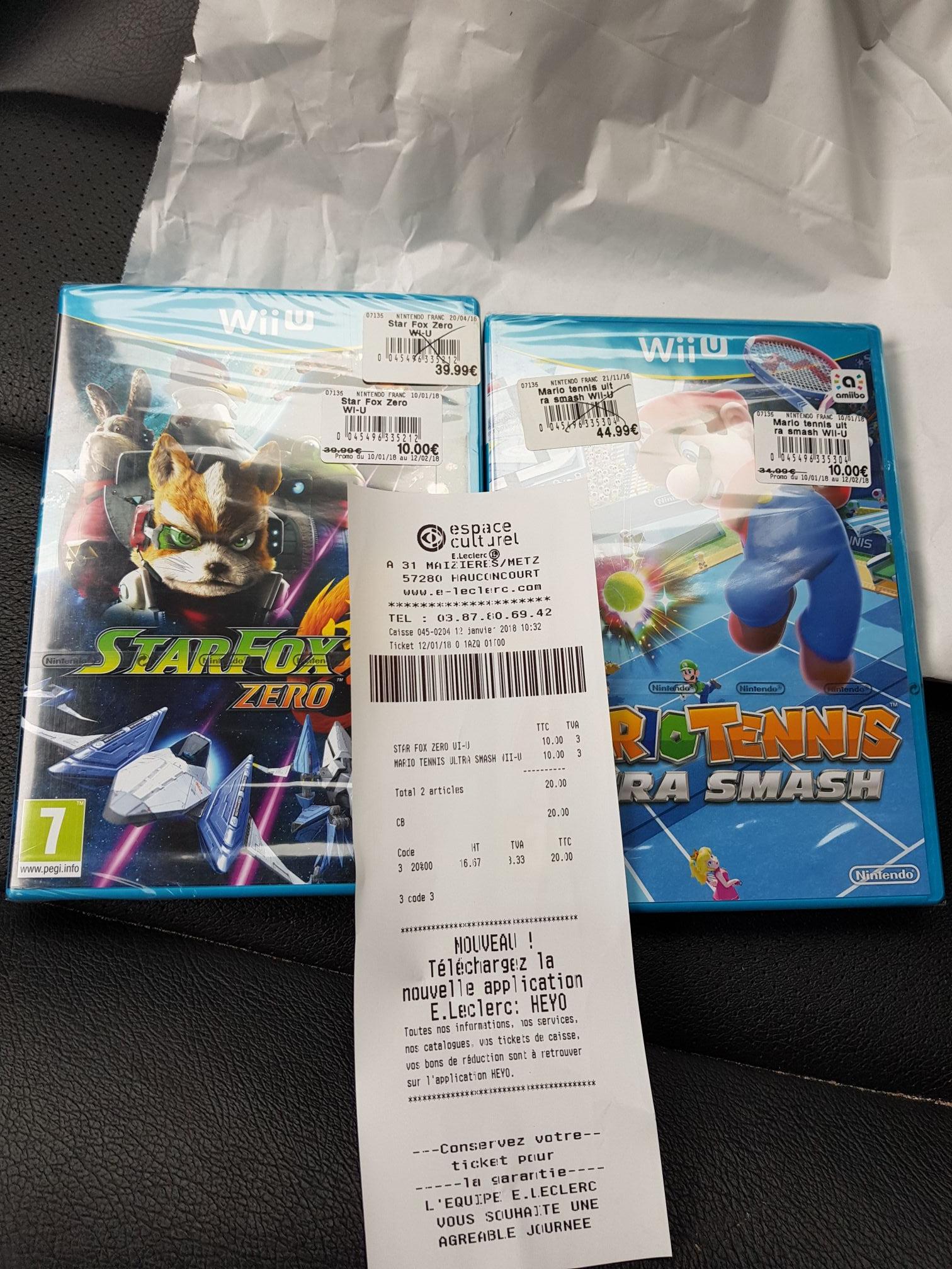 Starfox zero sur Wii U à 10€ et Mario tennis sur Wii U à 10€ - Leclerc hauconcourt (57)