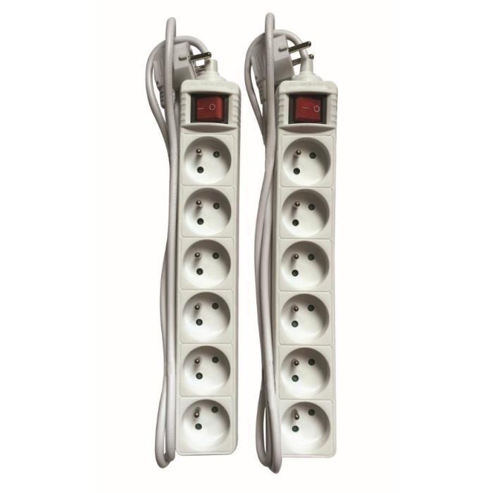 Lot de 2 multiprises 6 prises 2P+T 16 A avec interrupteur câble 1,4 m HO5VVF 3x1 mm²