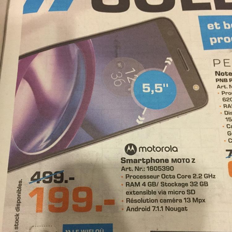 """Smartphone 5.5"""" Motorola Moto Z - SnapDragon 820, 4 Go de RAM, 32 Go chez Saturn (frontaliers Luxembourg)"""