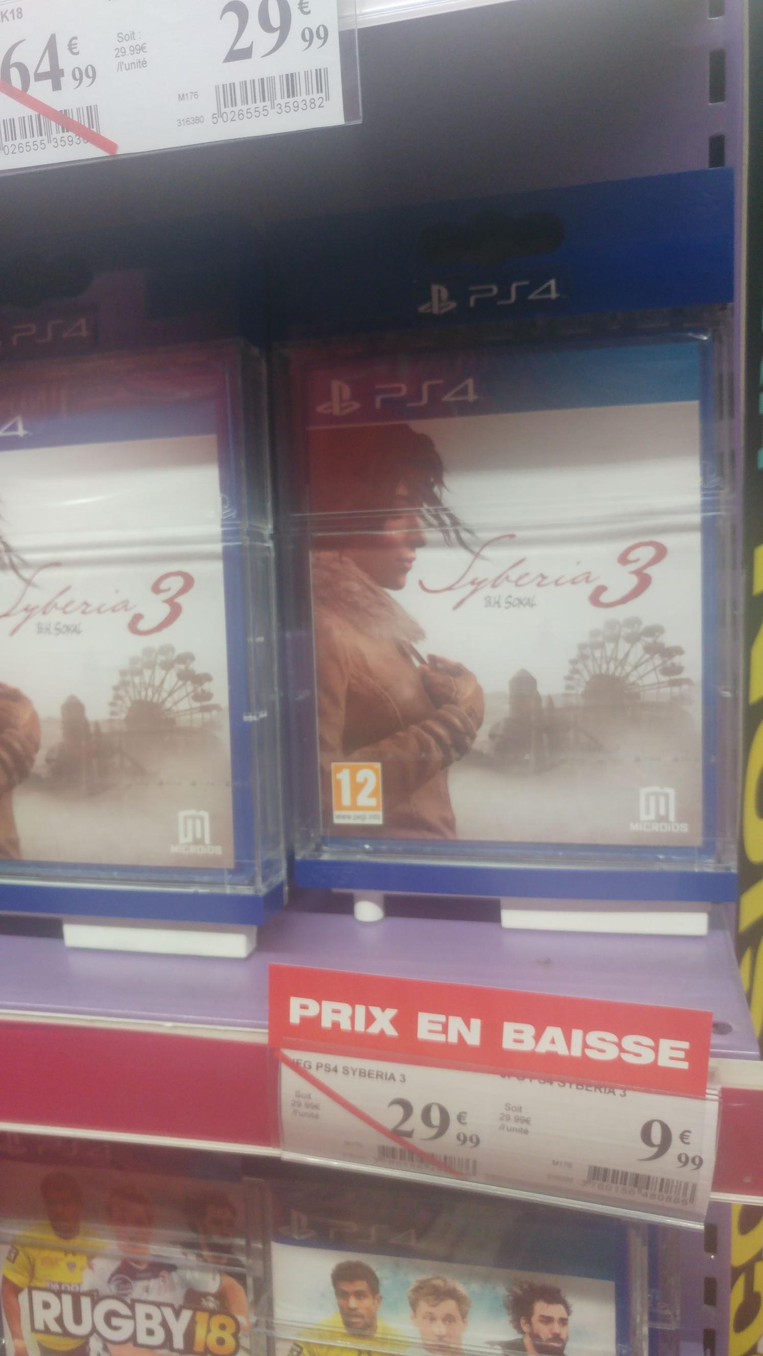 Sélection de jeux en promotion - Ex : Syberia III sur PS4 - Centre Commercial Les Quatre Temps (92)