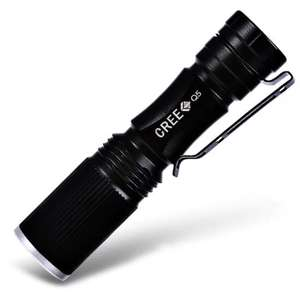 Lampe torche LED Cree XPE Q5 600Lm Zoomable - Noir AA/14500 (via l'application)