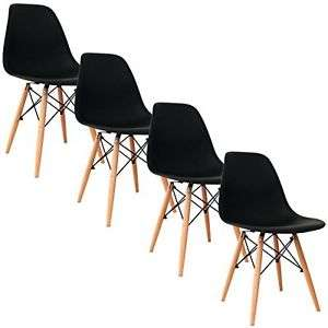 Lot de 4 chaises DecoDesign Eiffel - style scandinave, noir
