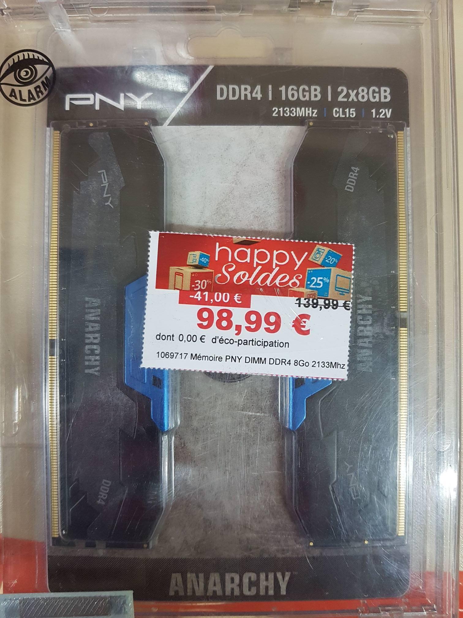 Kit de RAM PNY Anarchy DDR4-2133 CL15 - 16 Go (2x8) chez Boulanger Saint-Orens-de-Gameville (31)