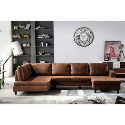 Canapé d'angle panoramique 8 places - Tissu marron vieilli - Vintage - L 304 x P 155 cm