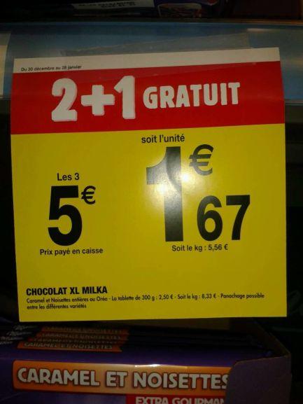 Lot de 3 tablettes Milka 300g aux choix - Carrefour Market Massy (91)
