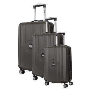 Set de 3 valises rigides BagStone Jack - 8 roues, en ABS, gris
