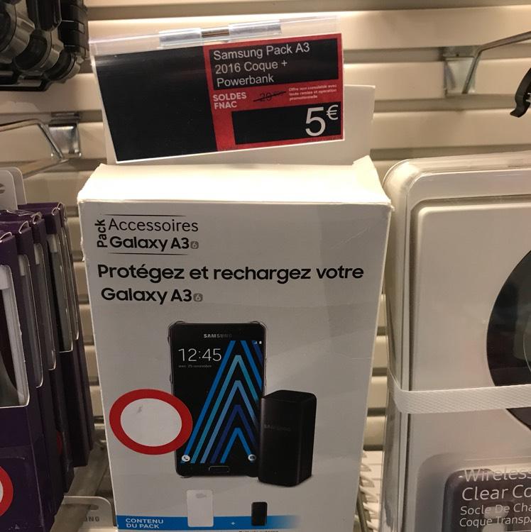 Pack coque pour smartphone Samsun Galaxy A3-6 + batterie externe à la Fnac Le Chesnay (78)