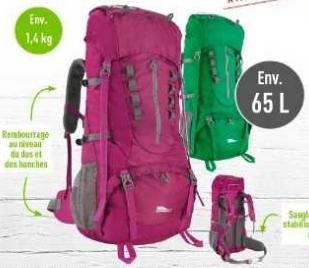 Sac à dos de trekking Crivit - 70 L, rose ou vert au Lidl Meulan-en-Yvelines (78)