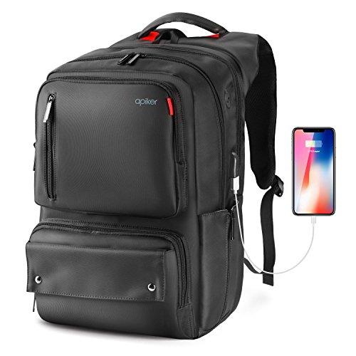 """Sac à dos pour PC portable 17.3"""" Apiker avec port USB - noir (vendeur tiers)"""