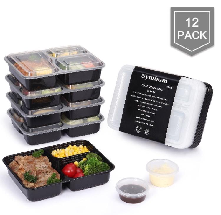 Lot de 12 boîtes plateau repas bento box + 6 Tasses de Condiment(Vendeur Tiers)