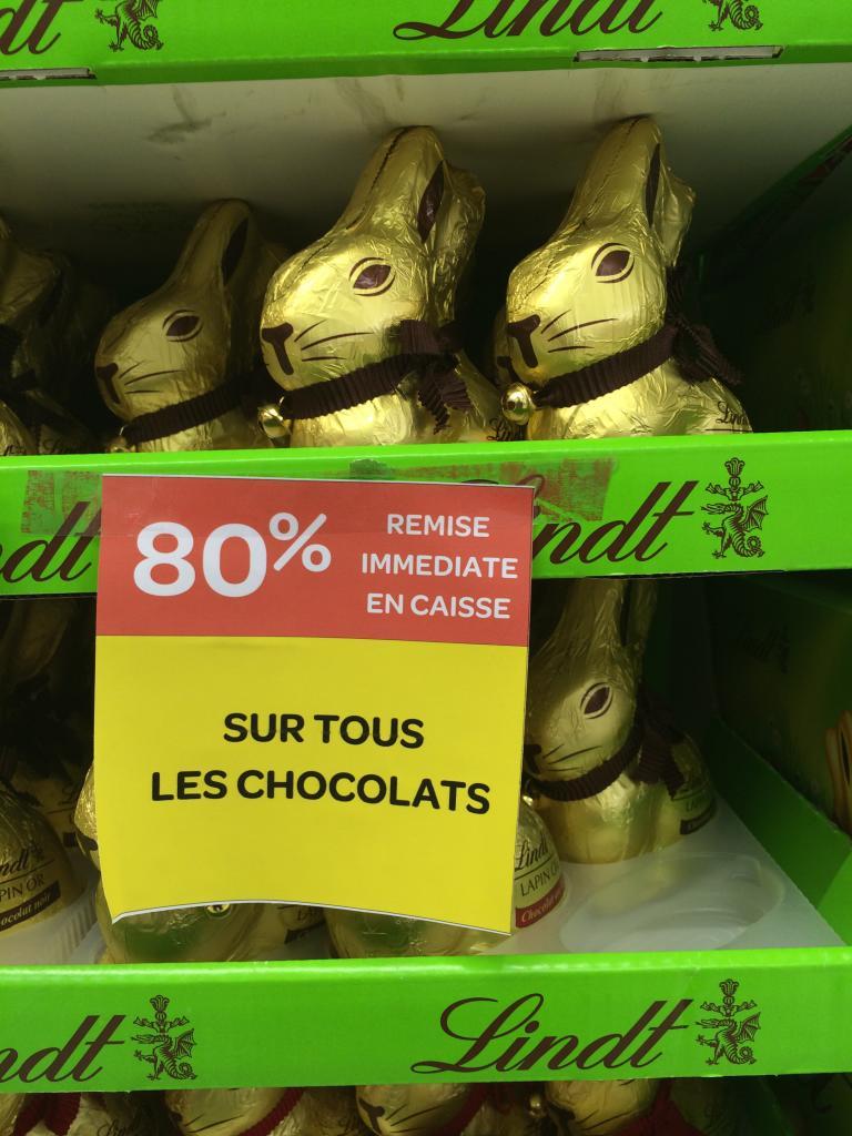 -80% sur les chocolats de Pâques - Ex: Lapin Lindt