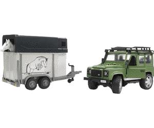 Jouet Bruder Land Rover Defender - avec cheval + remorque pour chevaux (2592)
