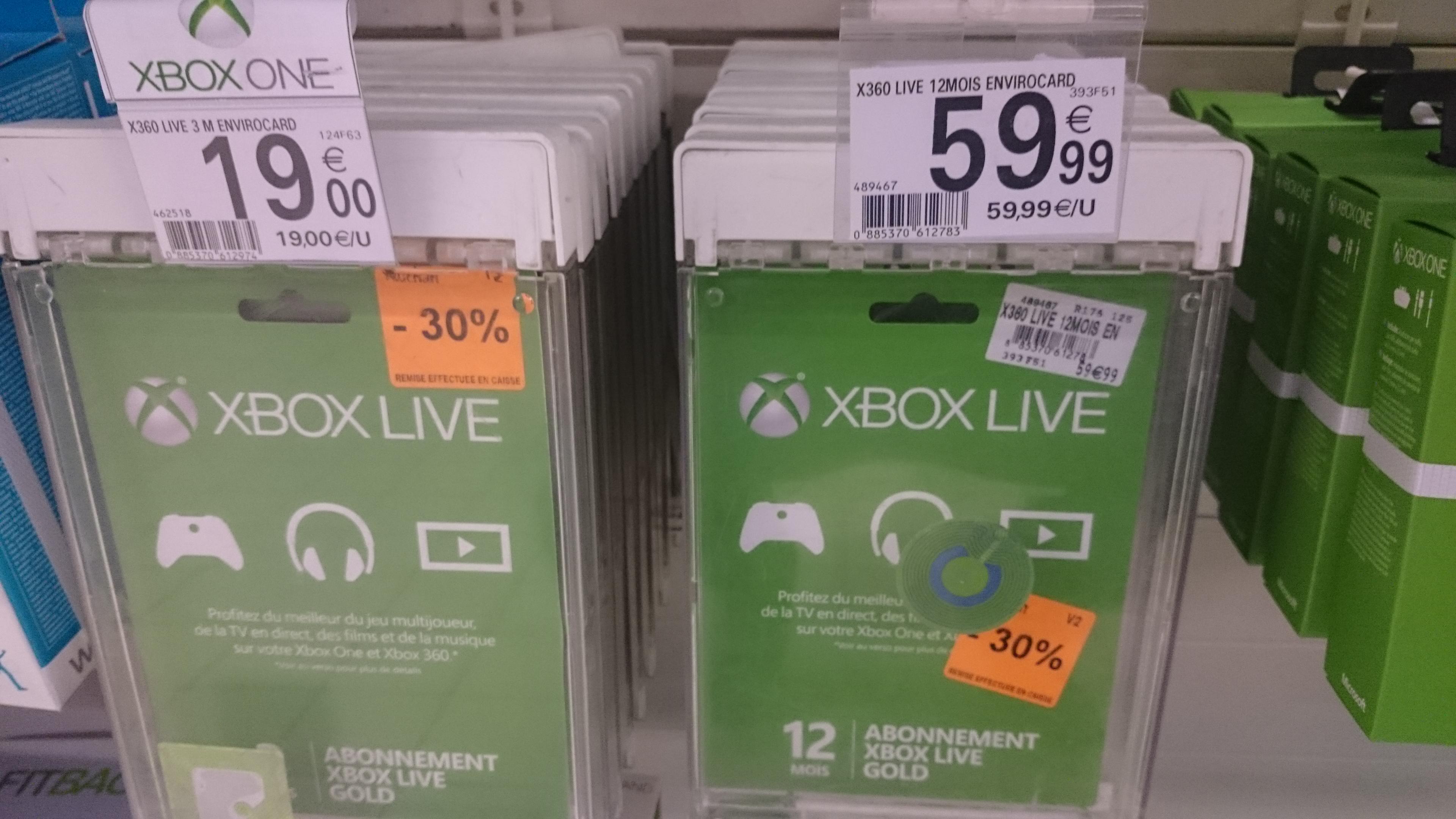 30% de réduction sur les abonnements Xbox live : 12 mois à 42€ et 3 mois