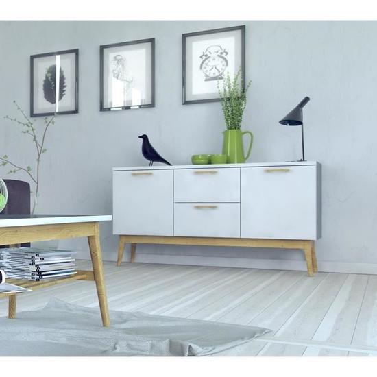 Bahut contemporain Retro - Blanc mat (147 cm)