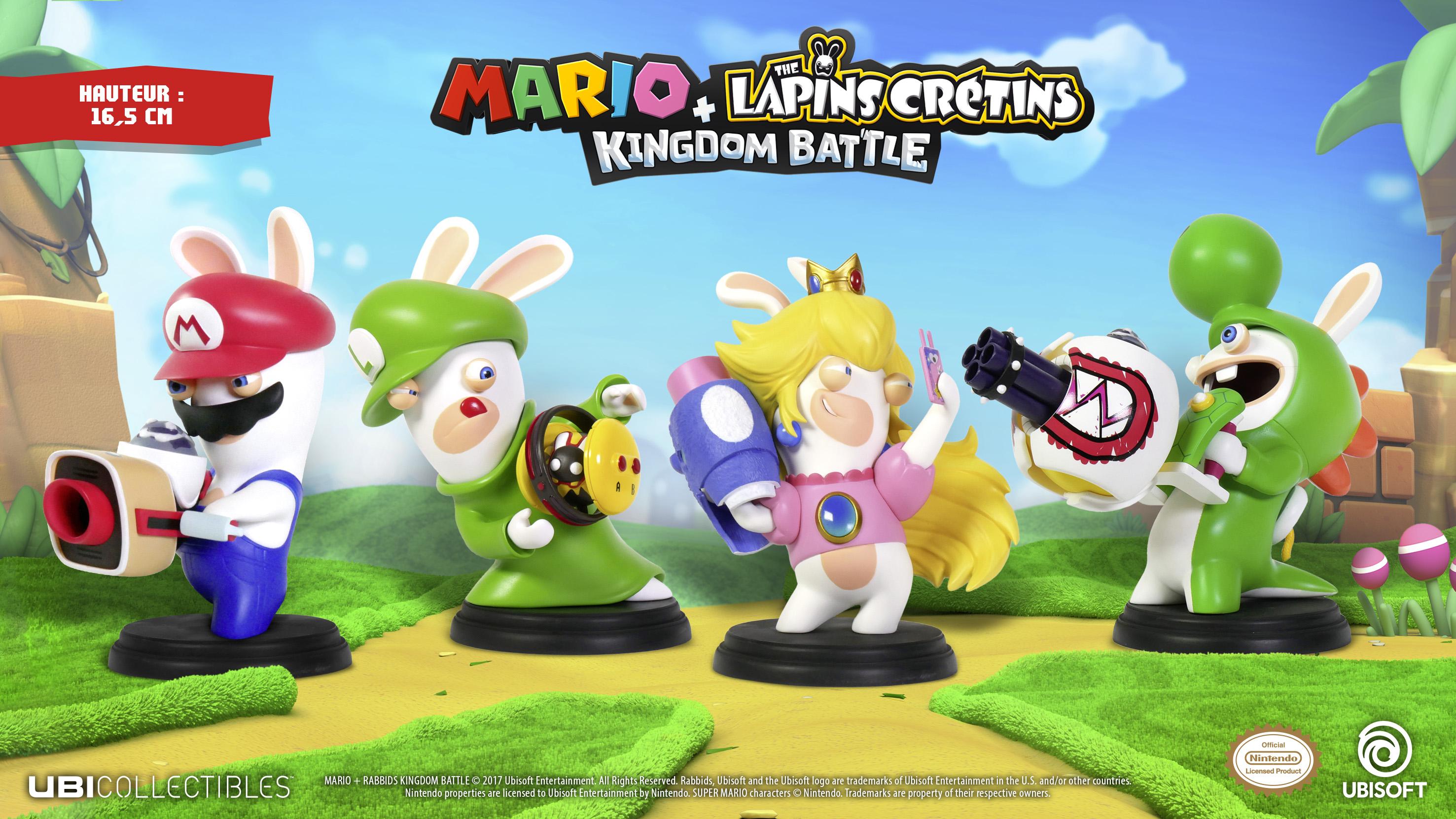 Selection de figurines Mario + The Lapins Crétins Kingdom Battle - 16,5cm