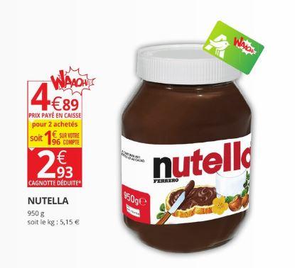 Pot de Nutella - 950g (1.96€ sur la carte de fidélité)