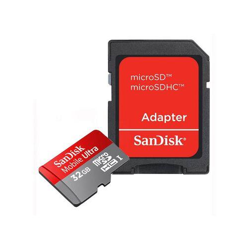 Carte mémoire MicroSDHC Sandisk Ultra 32 Go (Classe 10, UHS-1) + Adaptateur SD