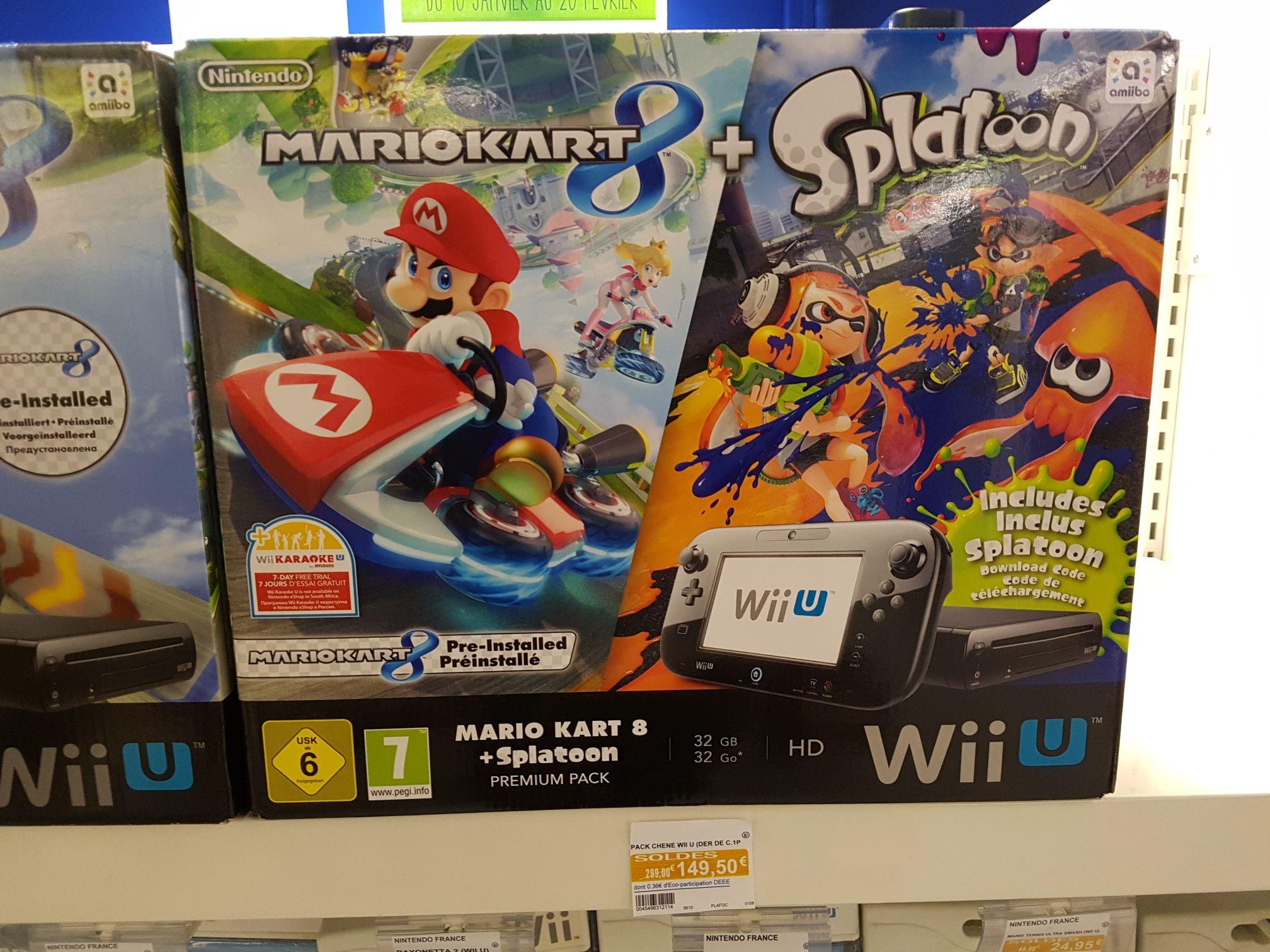 Console Nintendo Wii U Premium 32Go + Mario Kart 8 + Splatoon, (Leclerc saint Grégoire - 35)
