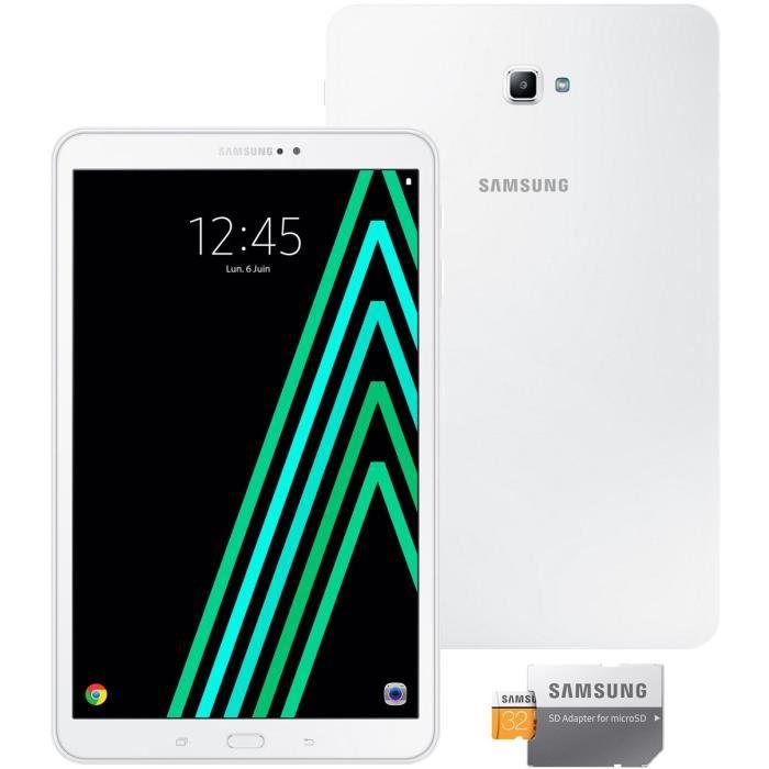 """Tablette 10.1"""" Samsung Galaxy Tab A6 (2 Go RAM, 16 Go, Android 6.0) + Carte mémoire MicroSD Samsung 32 Go"""