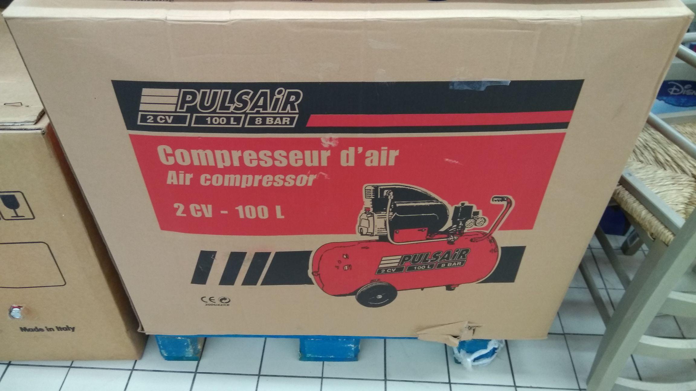 Compresseur Pulsair 100l 2CV 8 bar - Leclerc Conflans sainte honorine (78)