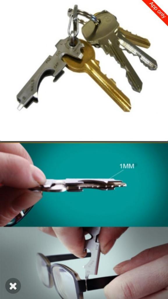 """Porte clés multifonction """"8 en 1"""" (via l'application)"""