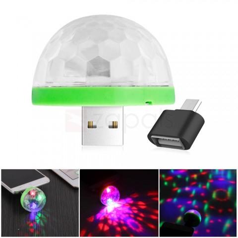 Boule de disco LED USB avec adaptateur micro d'USB