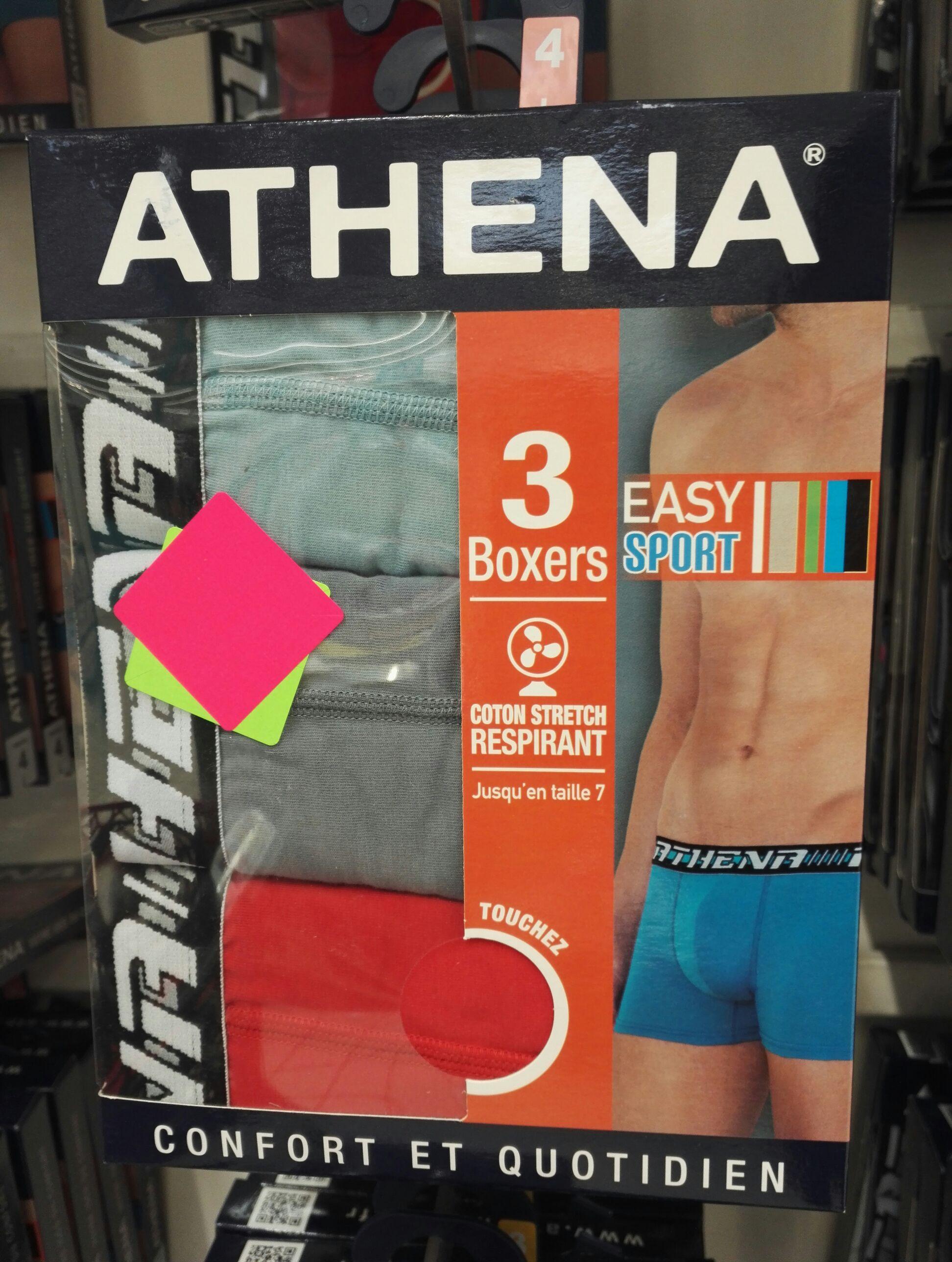 Lot de 3 boxers Athena Easy Sport plusieurs coloris disponibles - Englos (59)