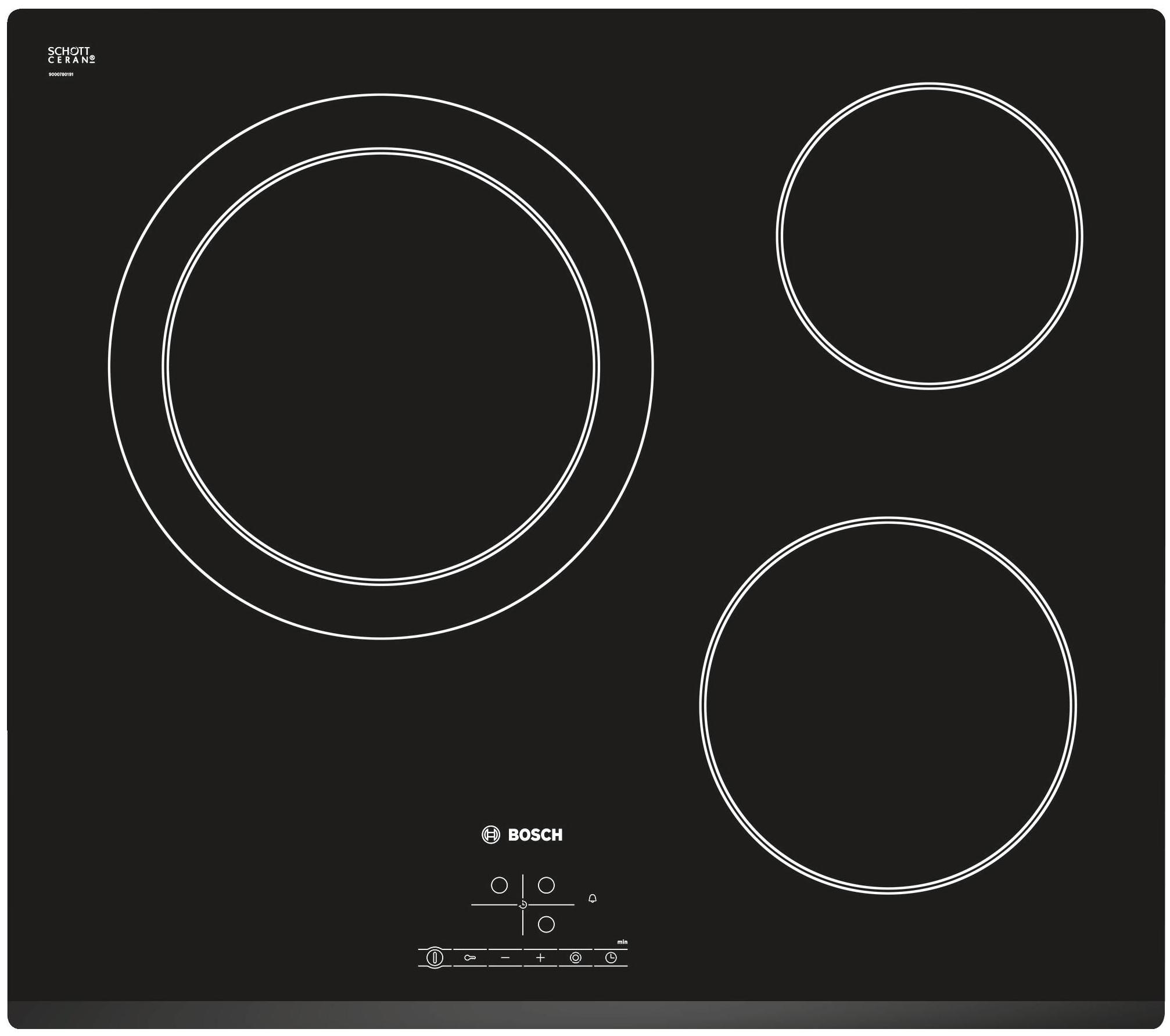 Plaque vitrocéramique Bosch PKK631B17E - 3 foyers puissance totale 5900W