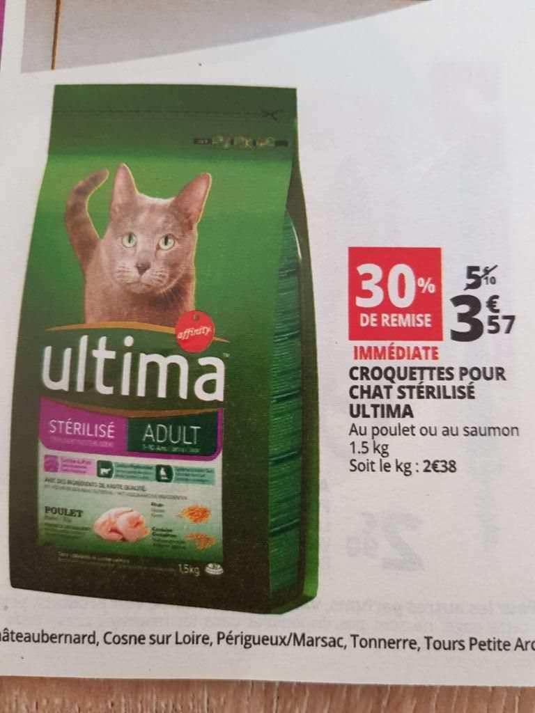 Sac de croquettes pour chat stérilisé Ultima - 1.5Kg
