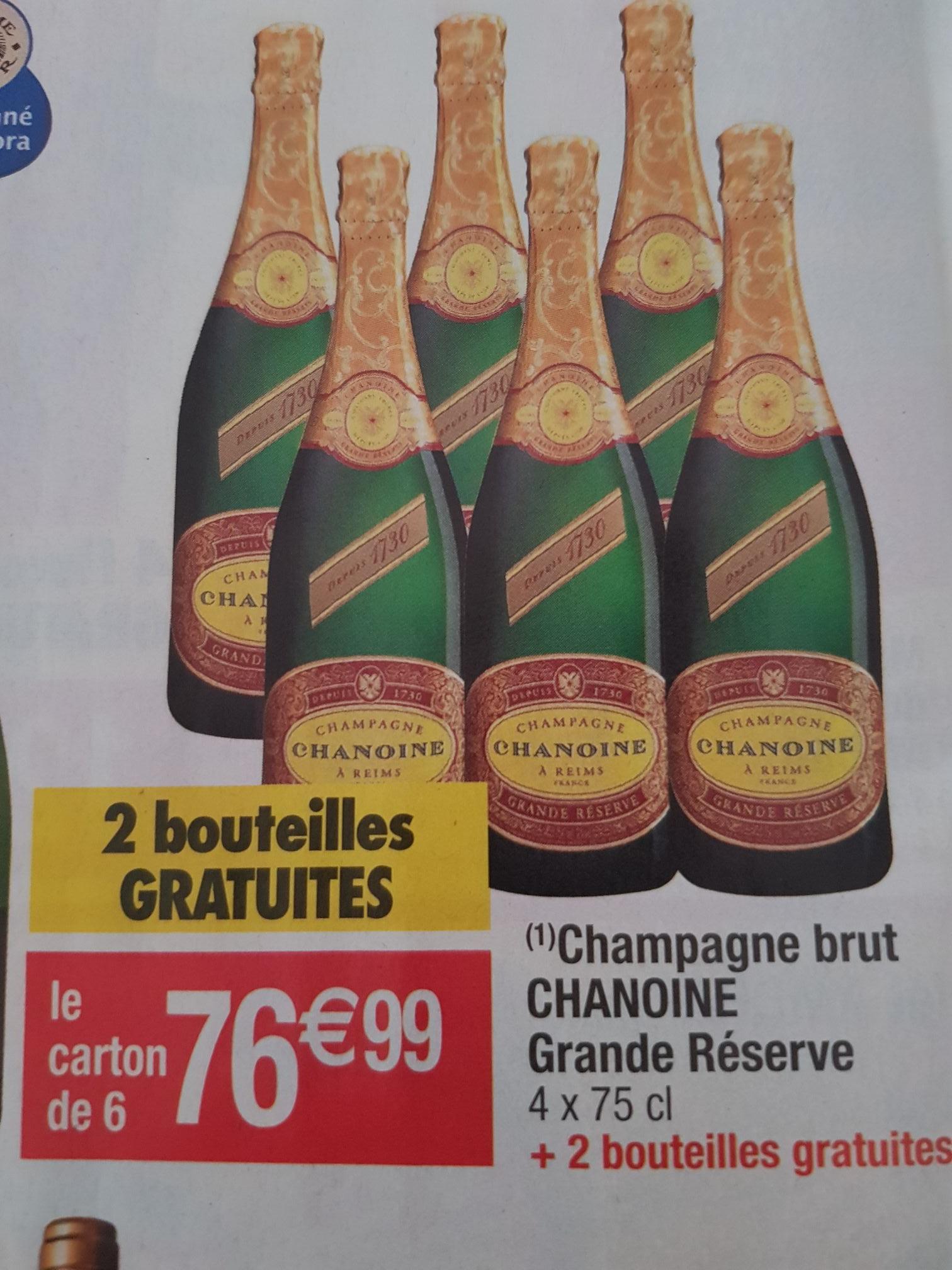 Lot de 6 Bouteilles de Champagne Brut Chanoine grande réserve