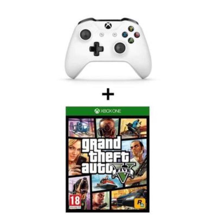 Manette Microsoft Xbox One blanche + Grand theft Auto 5 (GTA V) sur Xbox One