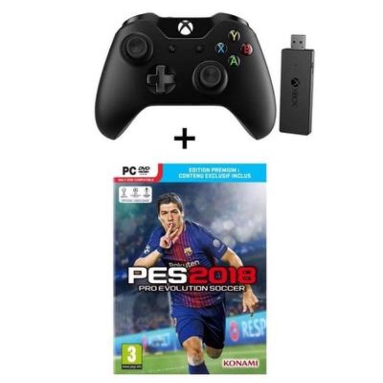 Manette Microsoft Xbox One + Adaptateur sans fil pour Windows + Jeu PES 2018 sur PC