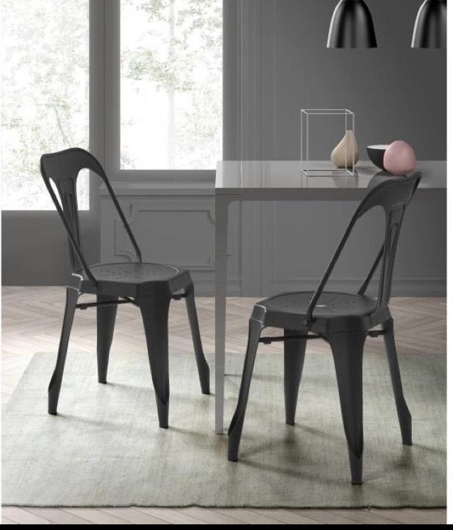 Lot de 2 chaises salle à manger Kraft Zoeli - Métal noir mat