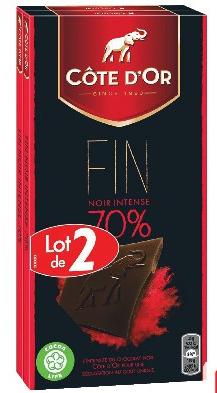 Sélection de produits en promotion - Ex : 2 lots de chocolat noir Côte D'Or - 2x200g (avec 0.84€ sur la carte + BDR)