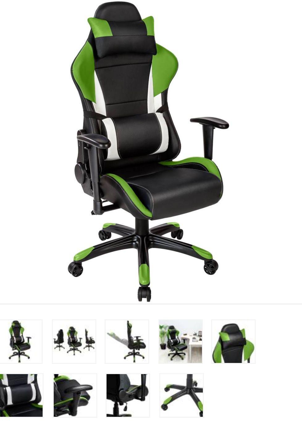 Fauteuil de bureau Gaming Racing Sport 3 - Rembourrage Épais blanc/noir/vert
