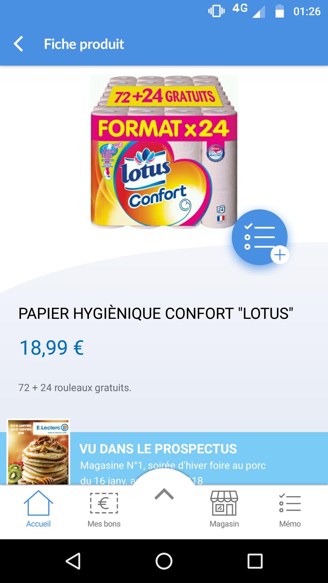 Paquet de 96 rouleaux de papier-toilette Lotus Confort
