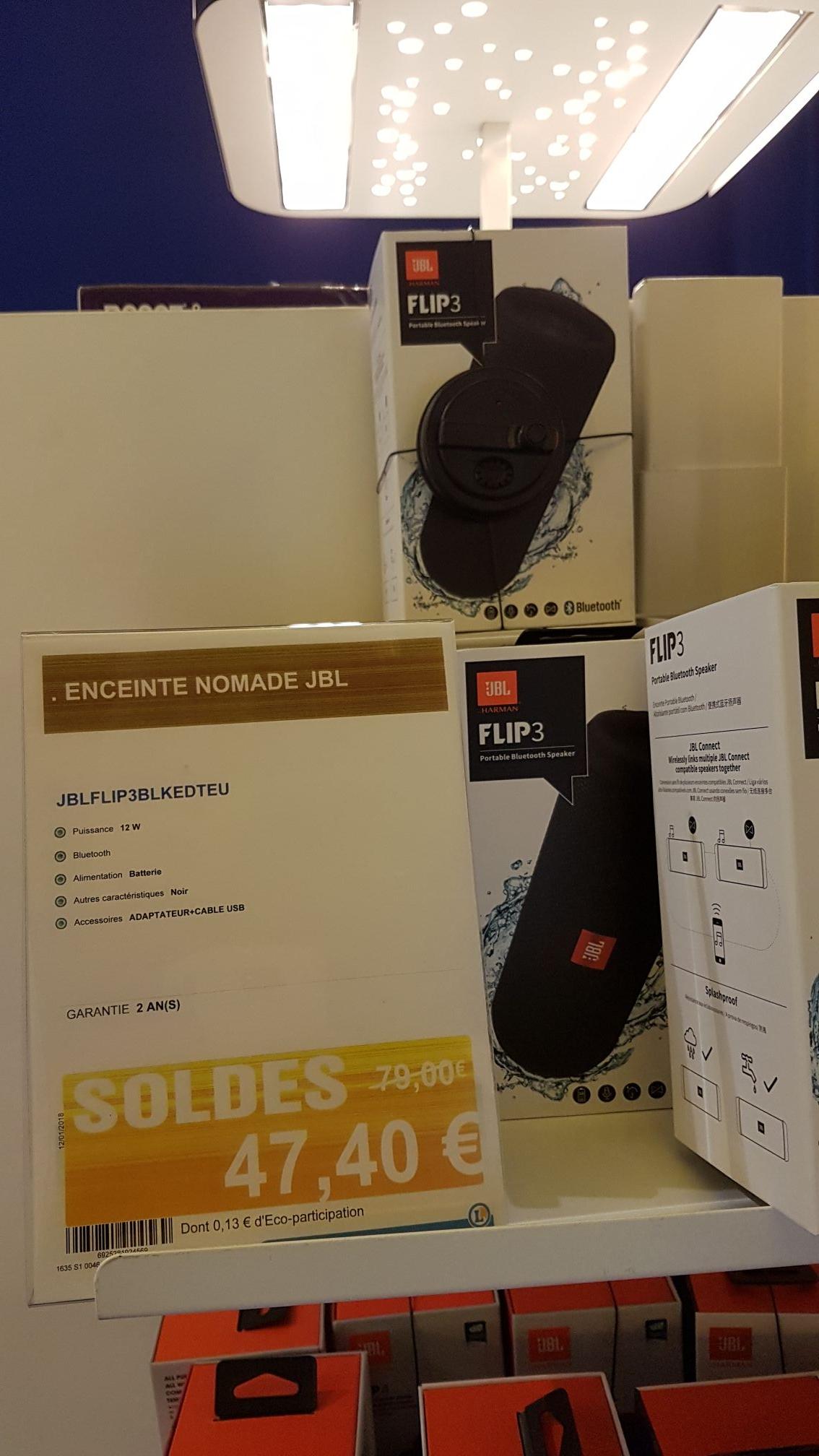 Enceinte Bluetooth JBL Flip 3 - noir au E.Leclerc Saint-Grégoire (35)