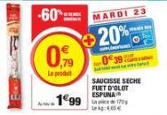 Saucisse sèche Fuet d'Olo Espuna - 170 g (via 0.4€ sur la carte de fidélité)