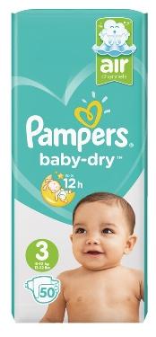 Lot de 4 paquets de couches Pampers Baby Dry - tailles 2 à 6 (via BDR)