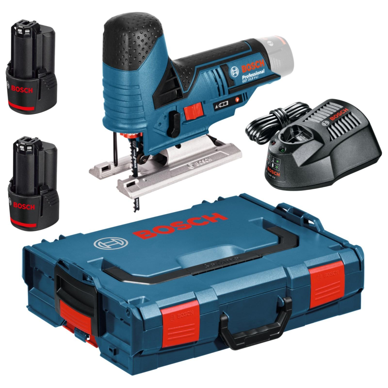 Scie Sauteuse sans fil Bosch Pro GST 10,8 V-LI + 2 batteries  2,5 Ah + L-BOXX