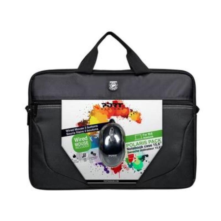 """Pack Sacoche 15"""" Noire + Souris USB Port Designs Polaris"""