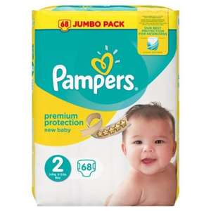 68 couches Pampers New Baby Taille 2 - 3 à 6 kg  - Format Jumbo pack