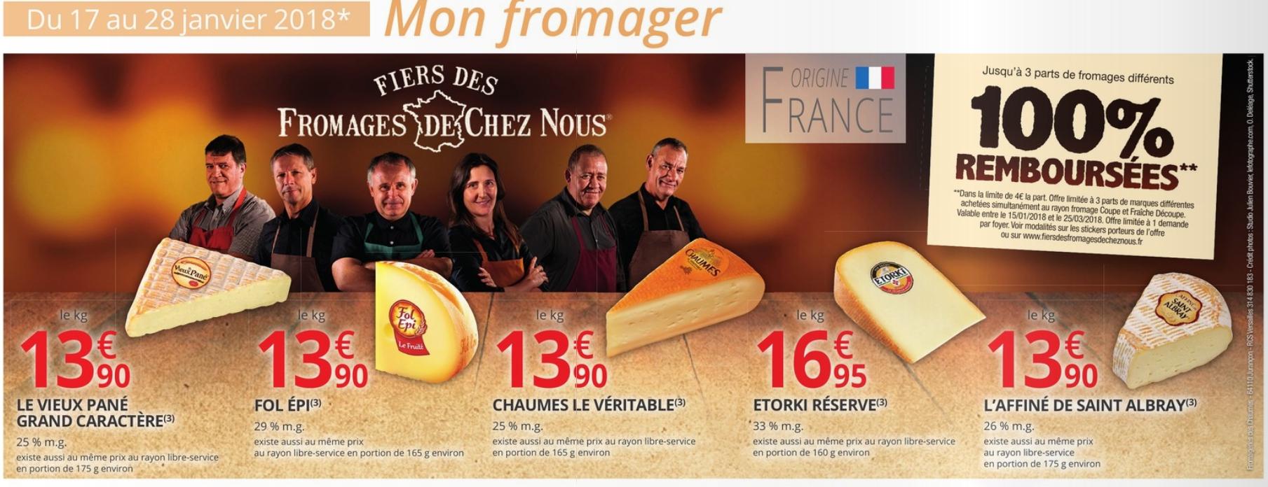 3 parts de fromages différents 100% remboursées