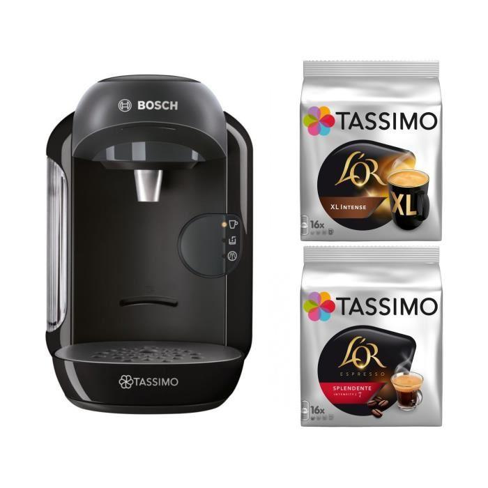 Machine à capsules Bosch Tassimo Vivy TAS12A2 (noir) + 2 packs de capsules de café
