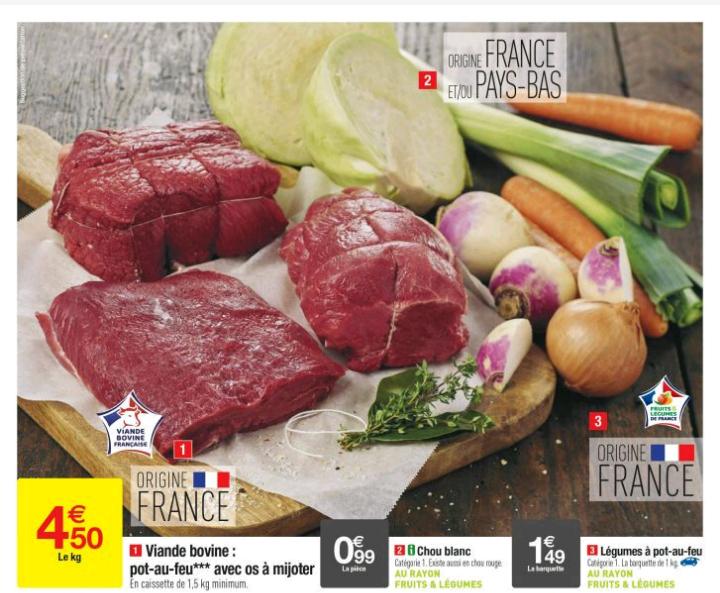 Viande bovine - Pot au feu avec Os - 1kg