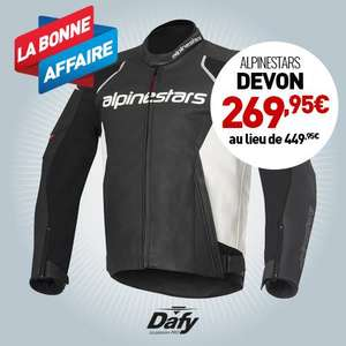Blouson moto homme Devon Alpinestars - Noir / Blanc